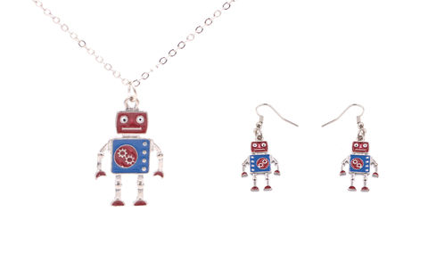 Jewellery,Set,-,Silver,Tone,Little,Robot,Necklace,and,Earrings,Super,Cute,18'',(In,Organza,Bag),Jewellery Set - Silver Tone Little Robot Necklace and Earrings - Super Cute - 18'' (In Organza Bag)