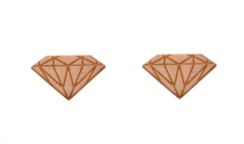 Hand,Crafted,Diamond,Design,Large,Stud,Earrings,made,with,Real,Wood,(In,Organza,Bag),Hand Crafted Diamond Design Large Stud Earrings made with Real Wood (In Organza Bag)