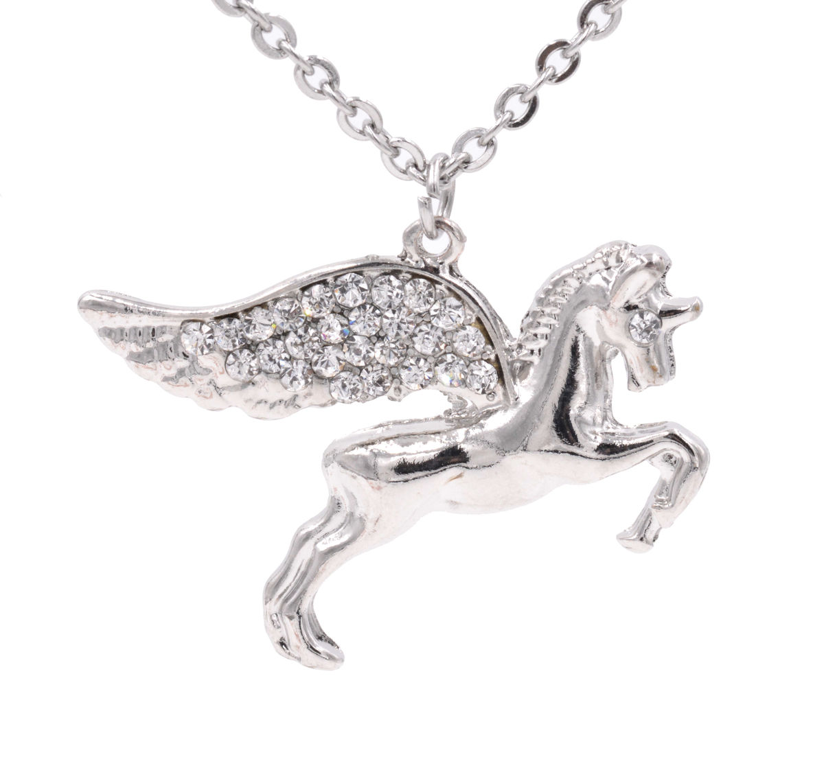 silver tone flying pegasus horse unicorn pendant necklace with