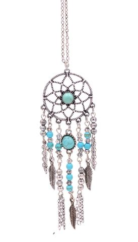 Antique,Silver,Tone,Dream,Catcher,Necklace,with,Blue,Turquoise,Beads,-,Boho,Style,(in,organza,bag),Antique Silver Tone Dream Catcher Necklace with Blue Turquoise Beads - Boho Style (in organza bag)