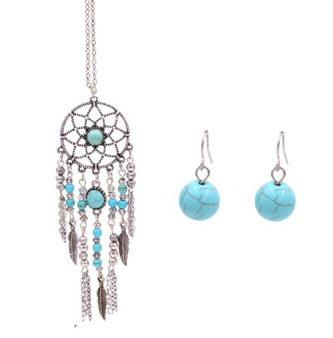 Antique,Silver,Tone,Dream,Catcher,Necklace,and,Earrings,Set,with,Blue,Turquoise,Beads,-,Boho,Style,(in,organza,bag),Antique Silver Tone Dream Catcher Necklace and Earrings Set with Blue Turquoise Beads - Boho Style (in organza bag)