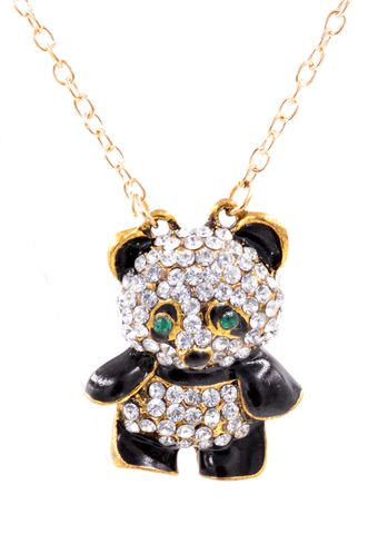 Crystal,Encrusted,Cute,Panda,Long,Necklace,in,Gold,Tone,(in,organza,bag),Crystal Encrusted Cute Panda Long Necklace in Gold Tone (in organza bag)