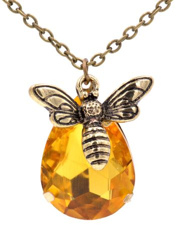 'Honey,and,Bee',Antique,Brass,Tone,Necklace,with,Amber,Honey,Colour,Crystal,-,Cute,Sweet,18'',20'',(in,organza,bag),'Honey and Bee' Antique Brass Tone Necklace with Amber Honey Colour Crystal - Cute and Sweet (in organza bag)