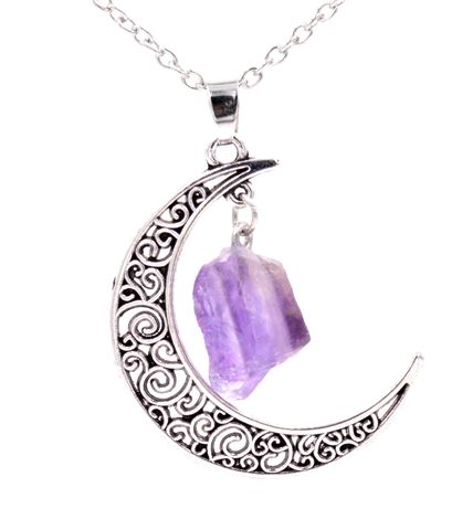 Antique,Silver,Tone,Crescent,Moon,and,Dangling,Purple,Amethyst,Raw,Crystal,Necklace,18'',-,20'',(in,organza,bag),Antique Silver Tone Crescent Moon and Dangling Purple Amethyst Raw Crystal Necklace 18'' - 20'' (in organza bag)