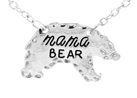 Silver,Tone,Mama,Bear,Polar,Necklace,16'',-,18'',Cute,and,Sweet,Design,(in,organza,bag),Silver Tone Mama Bear Polar Bear Necklace 16'' - 18'' Cute and Sweet Design (in organza bag)