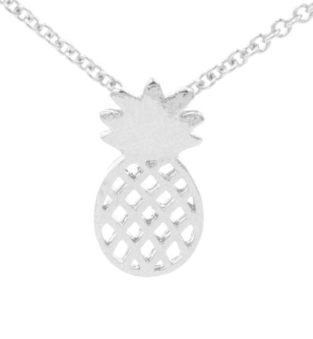 Silver,Plated,Pineapple,Cutout,Pattern,Pendant,Necklace,16'',-,18'',Cute,and,Quirky,Jewellery,(in,organza,bag),Silver Plated Pineapple Cutout Pattern Pendant Necklace 16'' - 18'' - Cute and Quirky Jewellery (in organza bag)