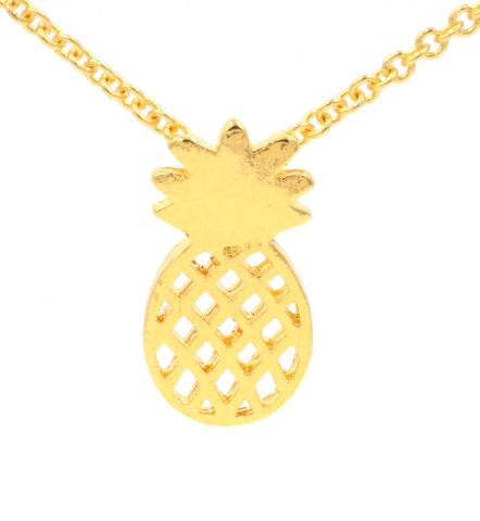 Gold,Plated,Pineapple,Cutout,Pattern,Pendant,Necklace,16'',-,18'',Cute,and,Quirky,Jewellery,(in,organza,bag),Gold Plated Pineapple Cutout Pattern Pendant Necklace 16'' - 18'' - Cute and Quirky Jewellery (in organza bag)