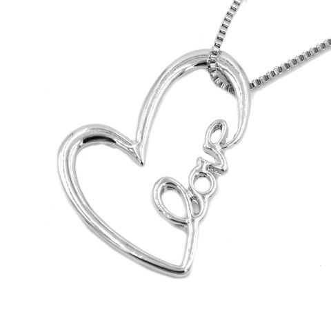 Love,Heart,Script,Pendant,Necklace,in,Silver,Tone,16'',-,18'',(in,organza,bag),Love Heart Script Pendant Necklace in Silver Tone 16'' - 18'' (in organza bag)