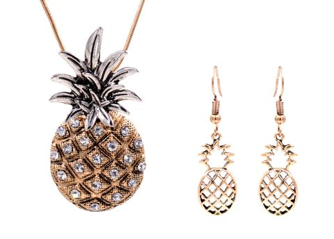 Chunky,Pineapple,Pendant,Necklace,and,Earrings,Set,with,Crystals,in,Antique,Gold,Tone,18'',-,20'',(in,organza,bag),Chunky Pineapple Pendant Necklace and Earrings Set with Crystals in Antique Gold Tone 18'' - 20'' - Cute Fun and Quirky (in organza bag)