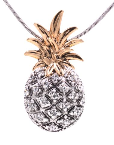Chunky,Pineapple,Pendant,Necklace,with,Crystals,in,Antique,Silver,Tone,18'',-,20'',(in,organza,bag),Chunky Pineapple Pendant Necklace with Crystals in Antique Silver Tone 18'' - 20'' (in organza bag)