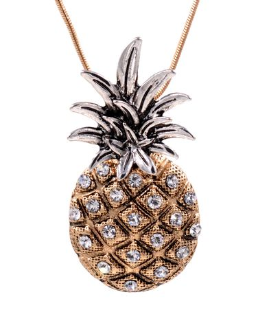 Chunky,Pineapple,Pendant,Necklace,with,Crystals,a,Gold,Tone,Chain,26'',(in,organza,bag),Chunky Pineapple Pendant Necklace with Crystals with a Gold Tone Chain 26'' (in organza bag)