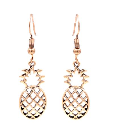 Antique,Brass,Tone,Little,Pineapple,Drop,Hook,Earrings,Cutout,Pattern,-,Cute,and,Quirky,Jewellery,(in,organza,bag),Antique Brass Tone Little Pineapple Drop Hook Earrings Cutout Pattern - Cute and Quirky Jewellery (in organza bag)
