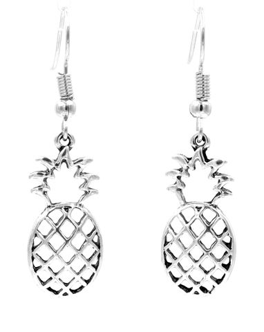 Antique,Silver,Tone,Little,Pineapple,Drop,Hook,Earrings,Cutout,Pattern,-,Cute,and,Quirky,Jewellery,(in,organza,bag),Antique Silver Tone Little Pineapple Drop Hook Earrings Cutout Pattern - Cute and Quirky Jewellery (in organza bag)