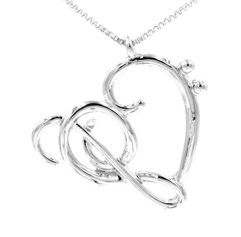 Silver,Tone,Music,Lover,Heart,Shape,Necklace,18'',-,20'',Cute,and,Sweet,Design,(in,organza,bag),Silver Tone Music Lover Heart Shape Necklace 18'' - 20'' Cute and Sweet Design (in organza bag)