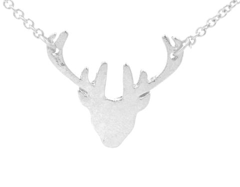 Silver,Plated,Stag,Deer,Head,Antlers,Necklace,18'',Cute,and,Quirky,Jewellery,(in,organza,bag),Silver Plated Stag Deer Head Antlers Necklace 18'' (in organza bag)