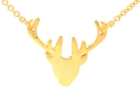 Gold,Plated,Stag,Deer,Head,Antlers,Necklace,18'',Cute,and,Quirky,Jewellery,(in,organza,bag),Gold Plated Stag Deer Head Antlers Necklace 18'' Cute and Quirky Jewellery (in organza bag)