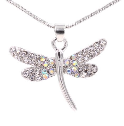 Rhodium,Plated,Sweet,Little,Dragonfly,Necklace,16'',-,18'',Cute,and,Design,(in,organza,bag),Rhodium Plated Sweet Little Dragonfly Necklace 16'' - 18'' Cute and Sweet Design (in organza bag)