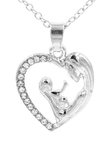 Rhodium,Plated,Mother,and,Child,Pendant,Necklace,18'',-,20'',Cute,Sweet,Jewellery,(in,organza,bag),Rhodium Plated Mother and Child Pendant Necklace 18'' - 20'' - Cute and Sweet Jewellery (in organza bag)