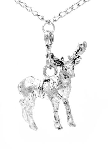 Antique,Silver,Tone,Stag,Deer,with,Antlers,Pendant,Necklace,Intricate,Details,(in,organza,bag),Antique Silver Tone Stag Deer with Antlers Pendant Necklace with Intricate Details   (in organza bag)