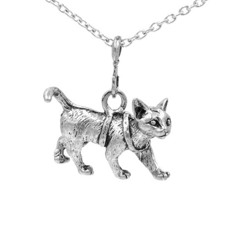 Antique,Silver,Tone,Little,Kitty,Cat,Pendant,Necklace,with,Intricate,Details,18'',(in,organza,bag),Antique Silver Tone Little Kitty Cat Pendant Necklace with Intricate Details 18''  (in organza bag)