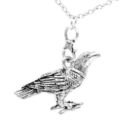 Antique,Silver,Tone,Crow,Bird,Pendant,Necklace,with,Intricate,Details,(in,organza,bag),Antique Silver Tone Crow Bird Pendant Necklace with Intricate Details   (in organza bag)