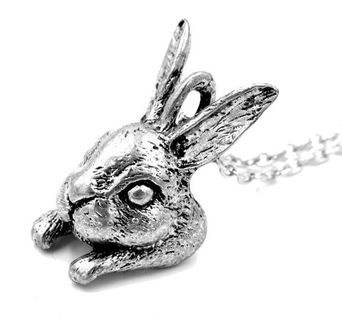 Antique,Silver,Tone,Little,Rabbit,Bunny,Pendant,Necklace,with,Intricate,Details,18'',(in,organza,bag),Antique Silver Tone Little Rabbit Bunny Pendant Necklace with Intricate Details 18''  (in organza bag)