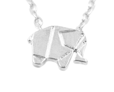 Silver,Plated,Geometric,Origami,Tiny,Little,Elephant,Necklace,18'',(in,organza,bag),Silver Plated Geometric Origami Tiny Little Elephant Necklace 18''  (in organza bag)