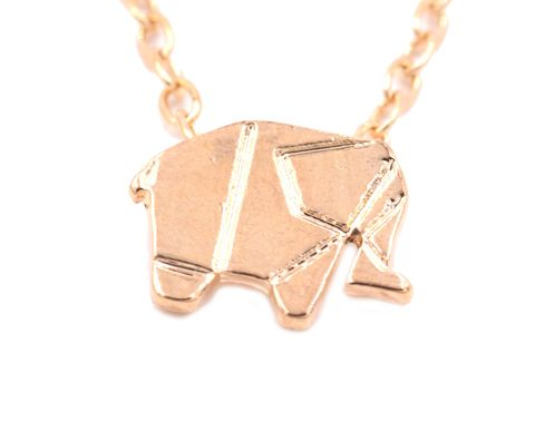Gold,Plated,Geometric,Origami,Tiny,Little,Elephant,Necklace,18'',(in,organza,bag),Gold Plated Geometric Origami Tiny Little Elephant Necklace 18''  (in organza bag)