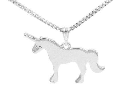 Silver,Plated,Little,Unicorn,Pendant,Necklace,-,20'',Cute,and,Quirky,(in,organza,bag),Silver Plated Little Unicorn Pendant Necklace - 20'' - Cute and Quirky  (in organza bag)