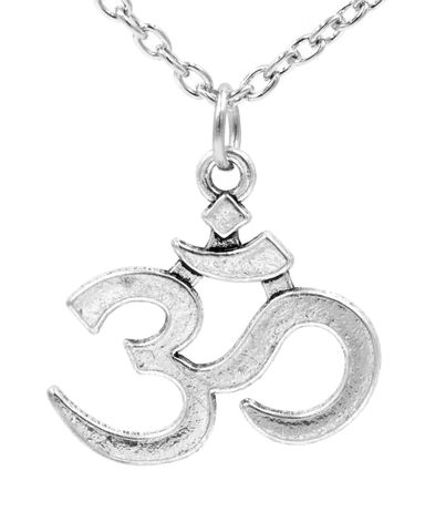 Antique,Silver,Tone,Om,Pendant,Necklace,Buddhist,Buddhism,Symbol,18'',-,20'',(In,Organza,Bag),Antique Silver Tone Om Pendant Necklace Buddhist Buddhism Symbol 18'' - 20'' (In Organza Bag)