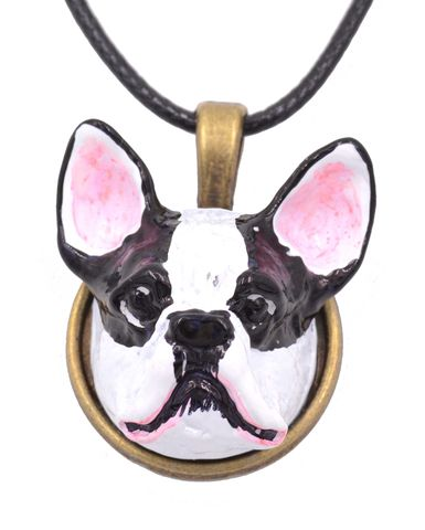 Hand,Painted,Bulldog,Head,3D,Resin,Terrier,Dog,Pendant,Necklace,18'',-,20'',(In,Organza,Bag),Hand Painted Bulldog Head 3D Resin Terrier Dog Pendant Necklace  18'' - 20'' (In Organza Bag)