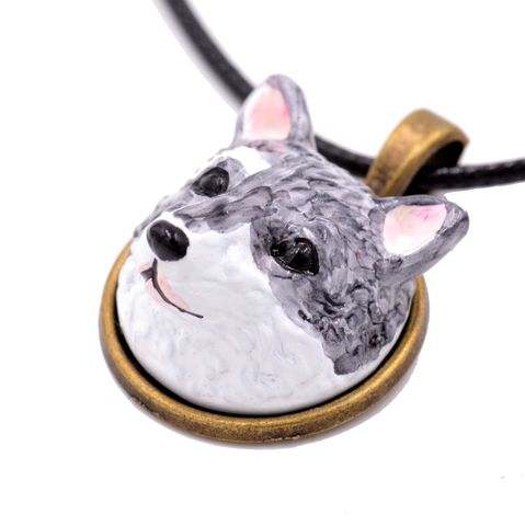 Hand,Painted,Husky,Dog,Head,3D,Resin,Pendant,Necklace,18'',-,20'',Cute,and,Quirky,Hand Painted Husky Dog Head 3D Resin Dog Pendant Necklace  18'' - 20'' - Cute and Quirky