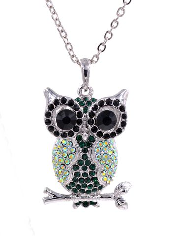 Emerald,Green,Colour,Crystal,Encrusted,Owl,on,Tree,Branch,Pendant,Necklace,in,Silver,Tone,(in,organza,bag),Emerald Green Colour Crystal Encrusted Owl on Tree Branch Pendant Necklace in Silver Tone  (in organza bag)
