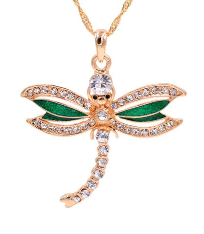 Gold,Tone,Little,Dragonfly,Pendant,Necklace,with,Enamel,and,Crystals,-,18'',20'',Cute,Fun,Jewellery,Gold Tone Little Dragonfly Pendant Necklace with Enamel and Crystals - 18'' - 20'' - Cute and Fun Jewellery