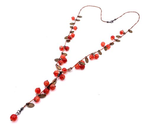 Cranberries,on,Branch,Design,Y-shaped,Lariat,Style,Necklace,in,Antique,Brass,Tone,with,Beautiful,Glass,Crystals,Cranberries on Branch Design Y-shaped Lariat Style Necklace in Antique Brass Tone with Beautiful Glass Crystals