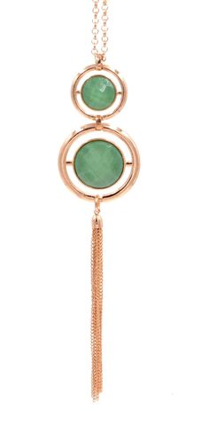 Gold,Tone,Double,Circle,with,Metallic,Tassel,Long,Necklace,-,Green,Simple,and,Stylish,Design,Gold Tone Double Circle with Metallic Tassel Long Necklace - Green - Simple and Stylish Design