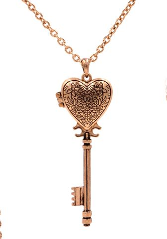 Antique,Brass,Tone,Heart,Shape,Key,Locket,Pendant,Necklace,Flower,Floral,Pattern,(Can,Be,Opened),Antique Brass Tone Heart Shape Key Locket Pendant Necklace Flower Floral Pattern (Can Be Opened) (in organza bag)