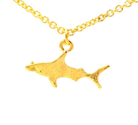 Gold,Plated,Tiny,Little,Shark,Pendant,Necklace,-,Cute,and,Quirky,Jewellery,16'',-18'',(in,organza,bag),Gold Plated Tiny Little Shark Pendant Necklace - Cute and Quirky Jewellery - 16'' -18'' (in organza bag)