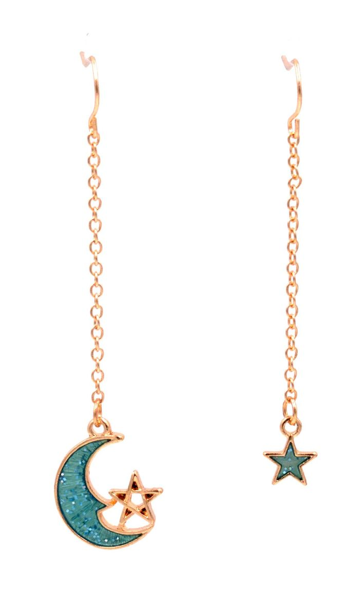 Mismatched Moon And Star Drop Dangling Hook Earrings Fun Quirky Jewellery In Organza Bag