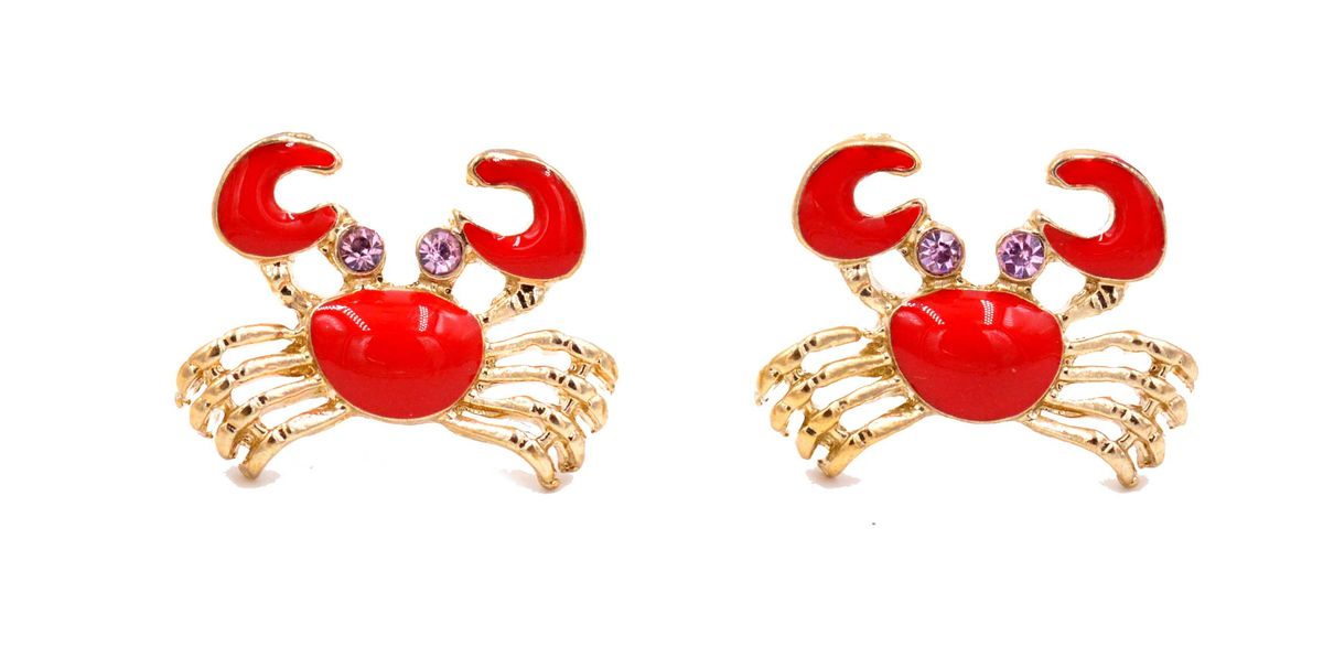 Super Cute Little Red Crab Stud Earrings Fun And Quirky Jewellery In Organza Bag