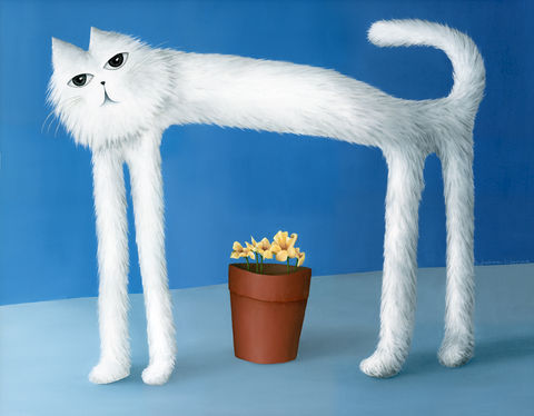 Skinny,Cat,(original,$430,plus,free,gift!),cat painting, cat print, cat, skinny cat, white cat, nature, flowers, blue,