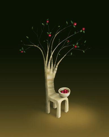 Strawberry,Guava,Tree,(print),strawberry guava, tree, surreal chair, surreal tree, red fruits, whimsical print