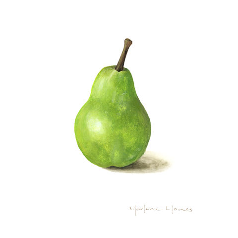 The,Beauty,of,a,Pear,(print,and,original),pear painting, green pear, green fruit