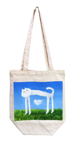 Skinny,Cat,Found,a,Cloud,Heart,(tote,bag)