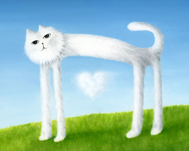 Skinny Cat Found a Cloud Heart (print) - product images