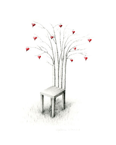 Patient,Love,(print,on,paper),surreal print, trees, nature, heart, valentines