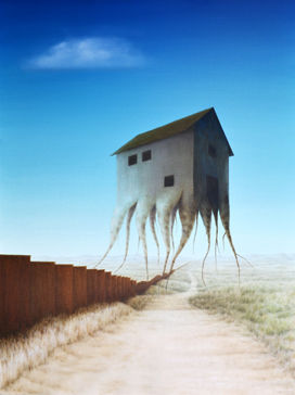 Stronger,Roots,(original),surreal painting, wall, border, mexico us border, surreal, house, landscape, nature, heritage, roots, border wall