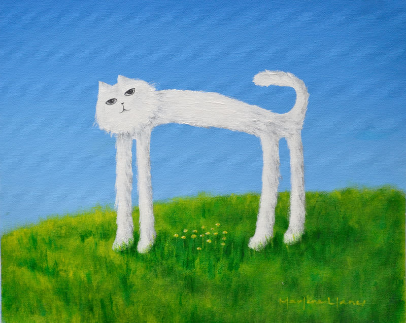 Skinny Cat Protects his Flowers (original) - product images  of