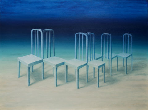 In,the,Right,Place,(original),oil painting, underwater, chairs, surreal, blue, ocean, water, peaceful, surreal painting