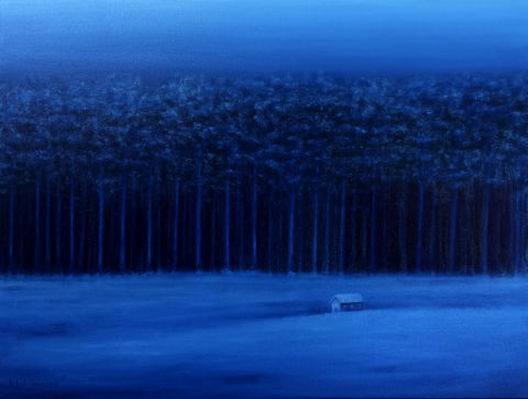 Blue,Landscape,(original),$200,reduced,to,$190!,landscape, blue landscape, trees, house